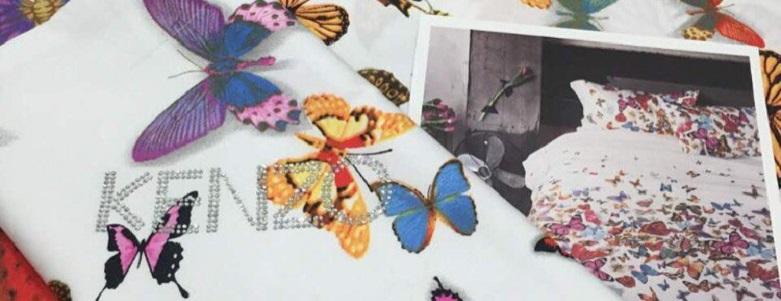 Эксклюзивный  комплект постельного белья Kenzo бабочки