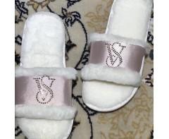 Пушистые тапочки Виктория сикрет розовые, размер 39-40