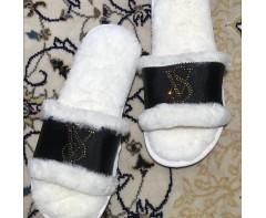 Пушистые тапочки Виктория сикрет  Черные 35-36 размер