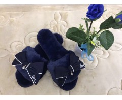 Пушистые тапочки Love нежно синие размер 37-38