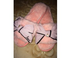 Пушистые тапочки Love розовые размер 39-40