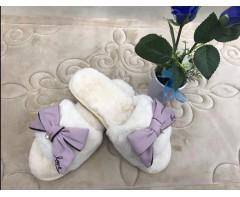 Пушистые тапочки Love молочные размер 37-38