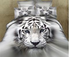 Постельное белье 5D дизайн Белый  Тигр
